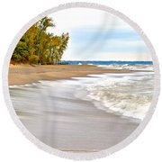 Autumn On The Beach Round Beach Towel