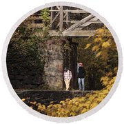 Autumn On The C And O Canal Round Beach Towel