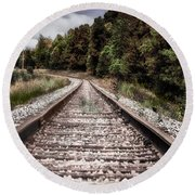 Autumn On The Railroad Tracks Round Beach Towel