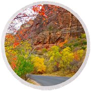 Autumn On Zion Canyon Scenic Drive In Zion National Park-utah  Round Beach Towel