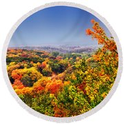 Autumn Over The Rolling Hills Round Beach Towel