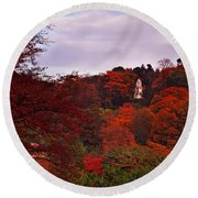 Autumn Pagoda Round Beach Towel
