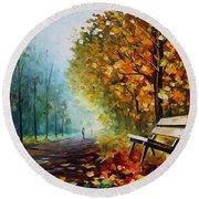Autumn Park - Palette Knife Oil Painting On Canvas By Leonid Afremov Round Beach Towel