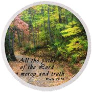Autumn Path With Scripture Round Beach Towel