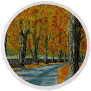 Autumn Pathway Round Beach Towel