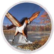 Autumn Pegasus Round Beach Towel