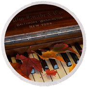 Autumn Piano 1 Round Beach Towel