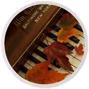 Autumn Piano 11 Round Beach Towel