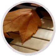 Autumn Piano 12 Round Beach Towel