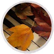 Autumn Piano 2 Round Beach Towel
