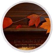 Autumn Piano 3 Round Beach Towel