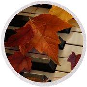 Autumn Piano 6 Round Beach Towel
