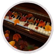 Autumn Piano 7 Round Beach Towel