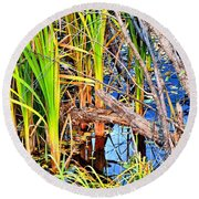 Autumn Pond Round Beach Towel