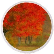 Autumn Popping Round Beach Towel
