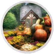 Autumn - Pumpkin - This Years Harvest Was Awesome  Round Beach Towel