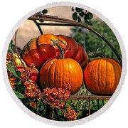 Autumn Pumpkins Round Beach Towel