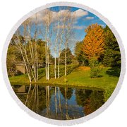 Autumn Reflecting Round Beach Towel