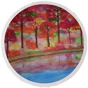 Autumn Reflection Round Beach Towel
