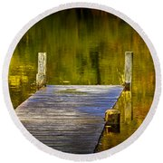 Autumn Reflections And Boat Dock On A Pond Near Yankee Springs Michigan Round Beach Towel