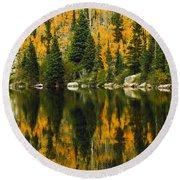 Autumn Reflections At Bear Lake Round Beach Towel