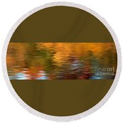 Autumn Reflections In Pond Round Beach Towel
