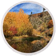 Autumn Reflections In The Susan River Canyon Round Beach Towel