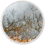 Autumn Reflections On Alloway Lake Nj Round Beach Towel