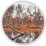 Autumn Reflections V2 Round Beach Towel