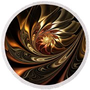 Autumn Reverie Abstract Round Beach Towel