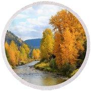 Autumn River In Montana Round Beach Towel
