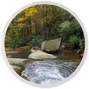 Autumn River Fall Round Beach Towel