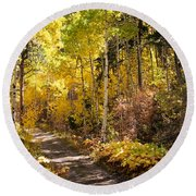 Autumn Road - Tipton Canyon - Casper Mountain - Casper Wyoming Round Beach Towel