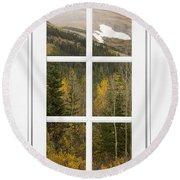 Autumn Rocky Mountain Glacier View Through A White Window Frame  Round Beach Towel