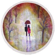Autumn Romance Round Beach Towel