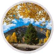 Autumn Scene Framed By Aspen Round Beach Towel