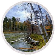 Autumn Scene Of Along The Shore Of The Platte River In Michigan Round Beach Towel