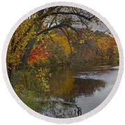 Autumn Scene Of The Flat River Round Beach Towel