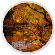 Autumn Scene Round Beach Towel