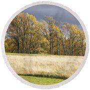 Autumn Skies Canaan Valley Of West Virginia Round Beach Towel