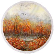 Autumn Song Round Beach Towel