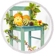 Autumn Still Life Chair Round Beach Towel