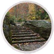 Autumn Stone Staircase Round Beach Towel
