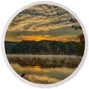 Autumn Sunrise At The Lake Round Beach Towel