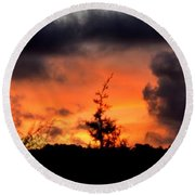 Autumn Sunrise From The Back Deck Round Beach Towel