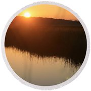Autumn Sunrise Over The Marsh Round Beach Towel
