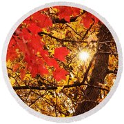 Autumn Sunrise Painterly Round Beach Towel