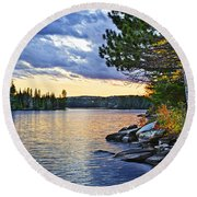 Autumn Sunset At Lake Round Beach Towel