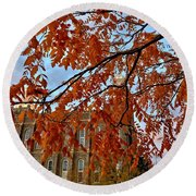 Autumn Temple Round Beach Towel