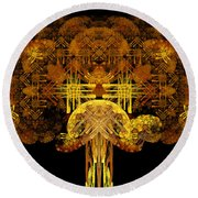 Autumn Tree Round Beach Towel by Sandy Keeton